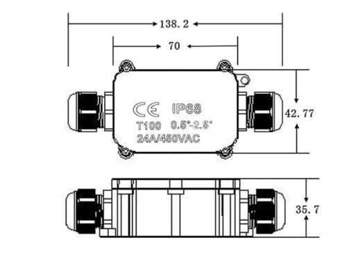 ip68 waterproof external electrical junction box 2 way wire range 5 to 12mm