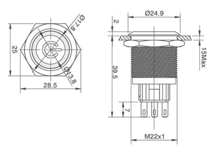 16mm Waterproof Momentary Flat Round Power Symbol Metal Manual Guide