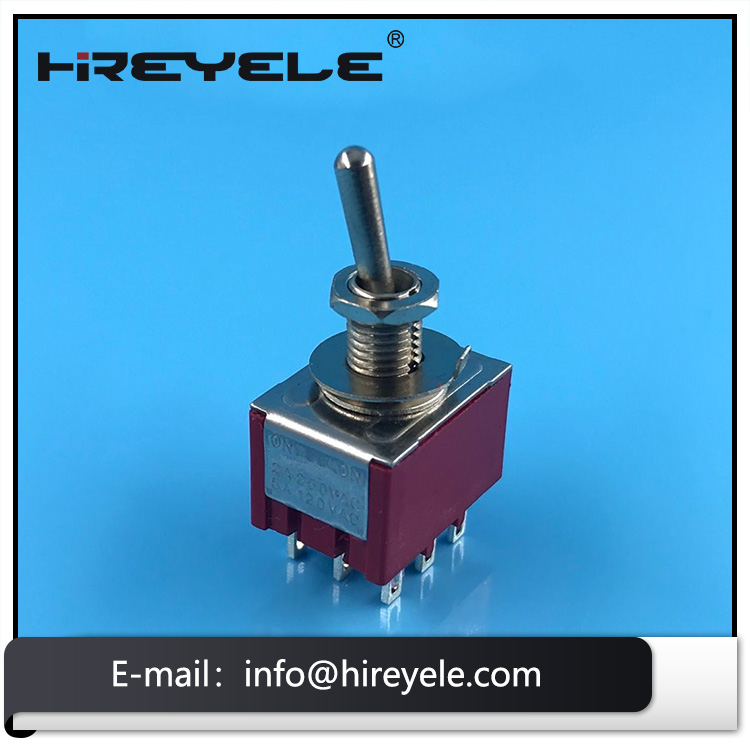 3 Pole Double Throw Switch 3PDT Latching Mini Toggle Switch