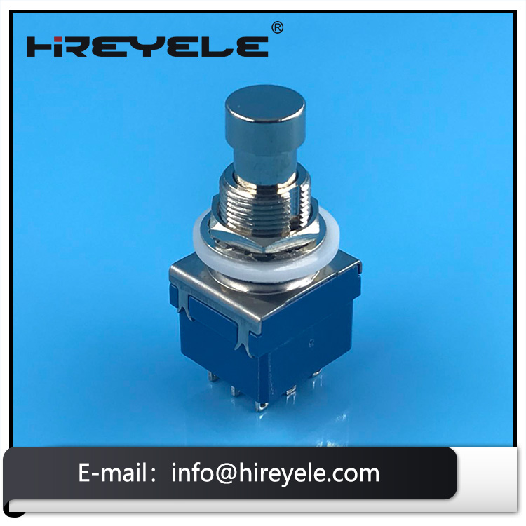 Blue 3PDT 9 Pin Foot Push Button Switch For Guitar Effect Pedal