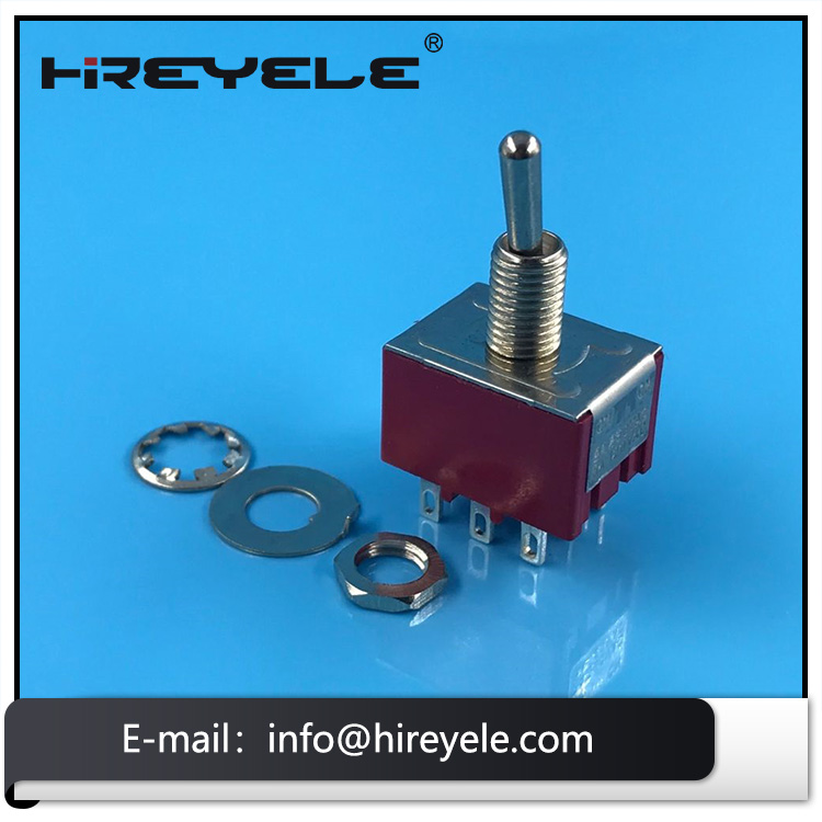 Mini Panel Mount ON-ON 3PDT 9Pin Red Toggle Switch