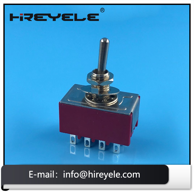 4PDT Latching Miniature Toggle Switch ON OFF ON 12Pin