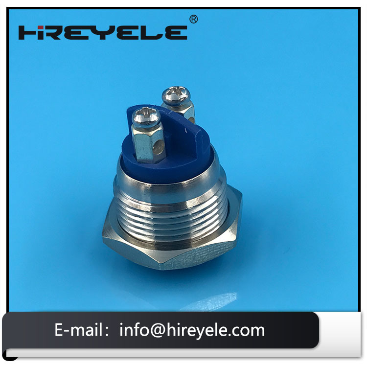 2 Pin Screw Terminal Momentary Metal Waterproof 16MM Push Button Switch 12V