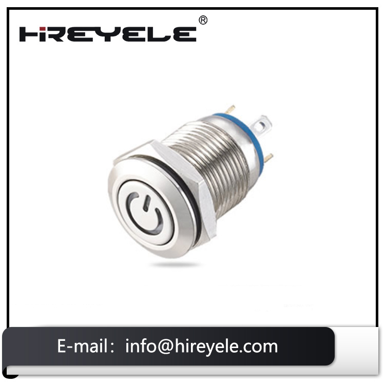 Made in China 12mm stainless momentary waterproof push button switch