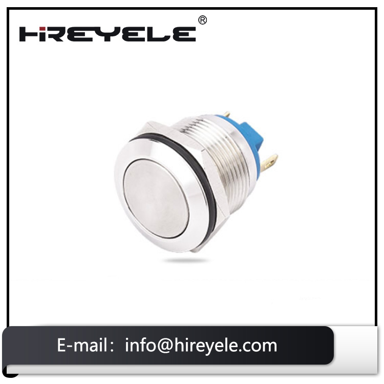 LED high round waterproof metal 19mm mounting momentary push button switch