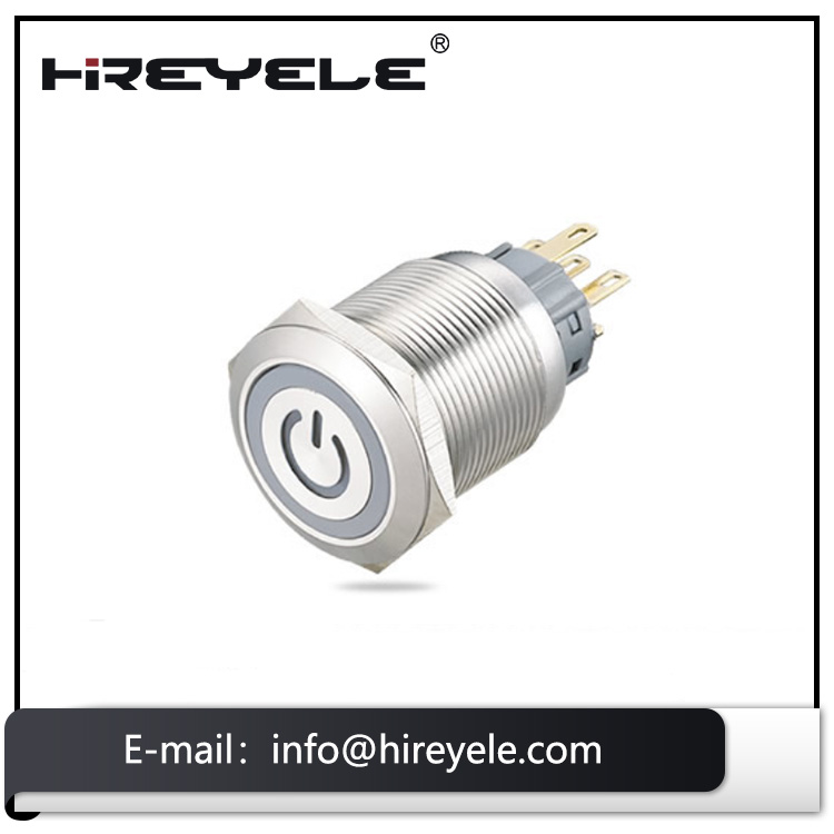 Factory IP67 high round illuminated momentary metal push button switch