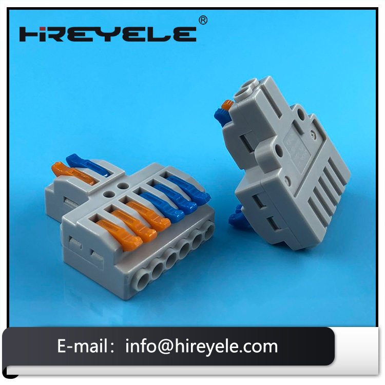 New 2 in 6 out Electrical Terminal Block Compact Splice Wire Connectors with Spring Push Lever
